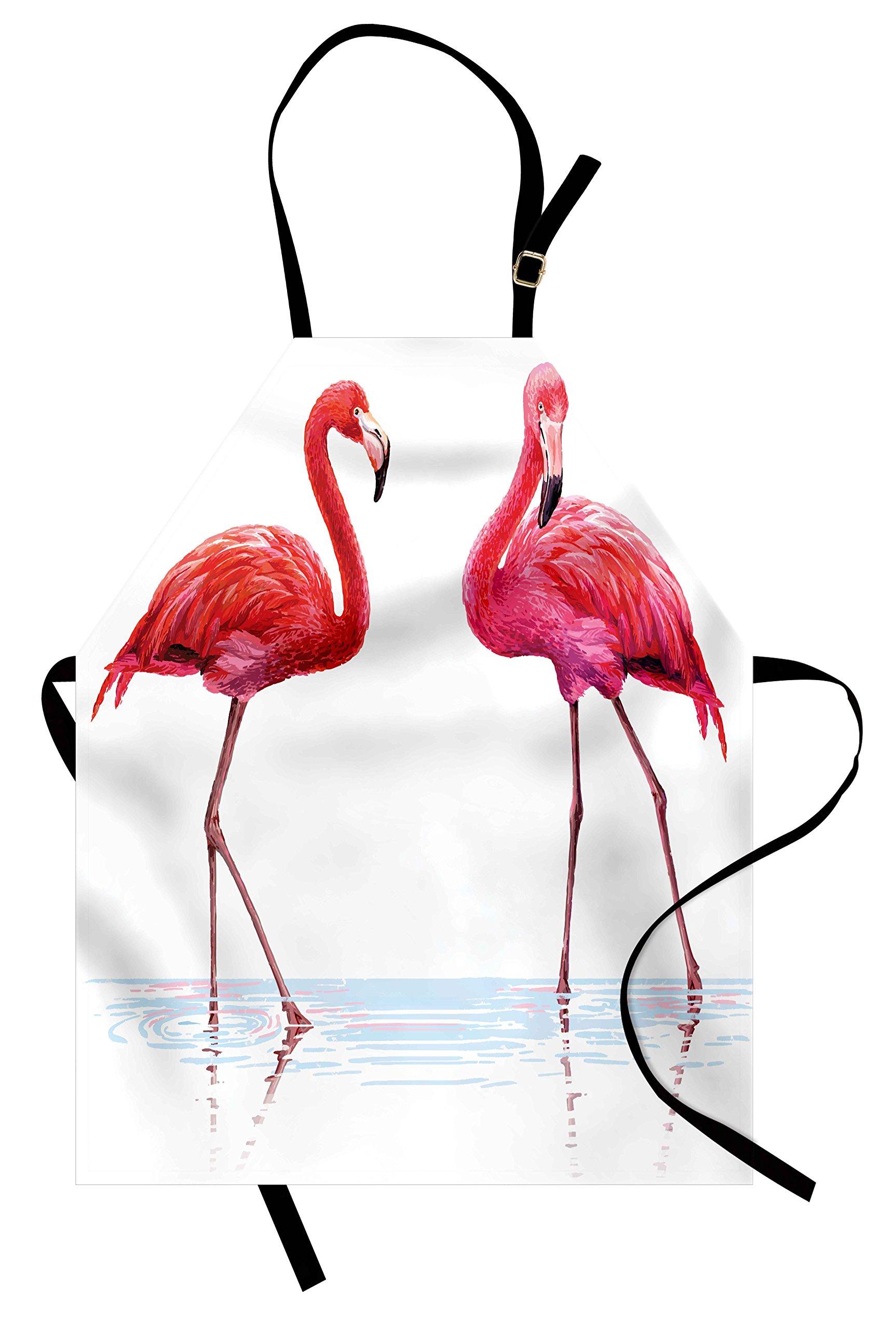 Ambesonne Animal Apron, Two Hand Drawn Flamingos in Pink Colors on Seaside Tropical Wildlife Artwork, Unisex Kitchen Bib Apron with Adjustable Neck for Cooking Baking Gardening, Orange Lavander