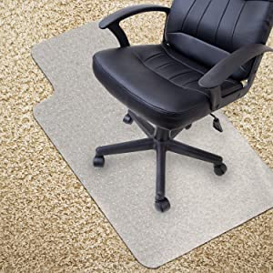"Kuyal Office Chair Mat for Carpets,Transparent Thick and Sturdy Highly Premium Quality Floor Mats for Low and Medium Pile Carpets, with Studs (36"" X 48"" with Lip)"