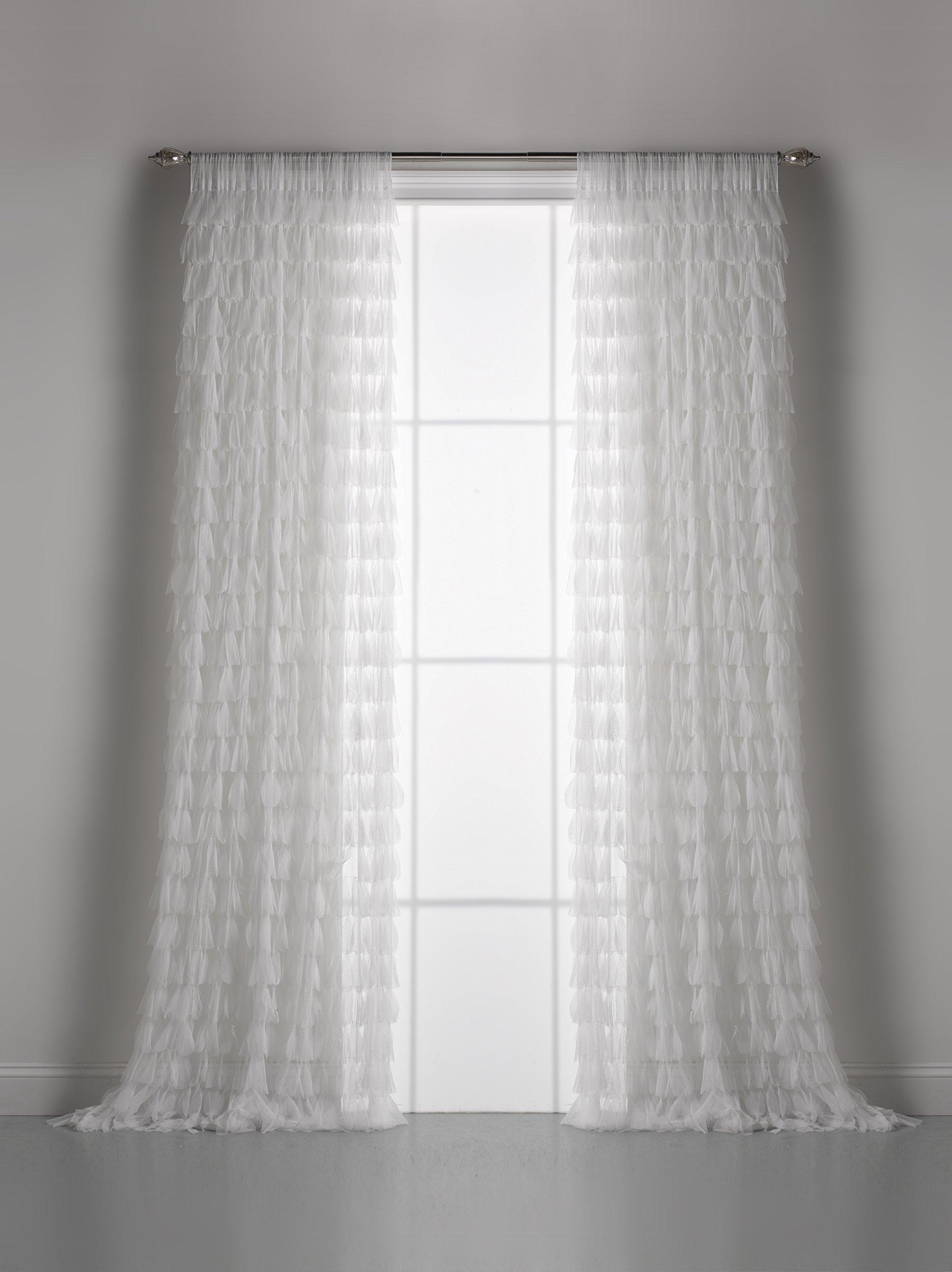 Couture Dreams Chichi Petal Window Curtain, White, 96 Inch