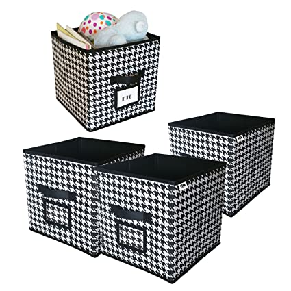 Cube Foldable Storage Bin with Label Window  Black and White Collapsible fabric Bins for Closet  sc 1 st  Amazon.com & Amazon.com: Cube Foldable Storage Bin with Label Window  Black and ...