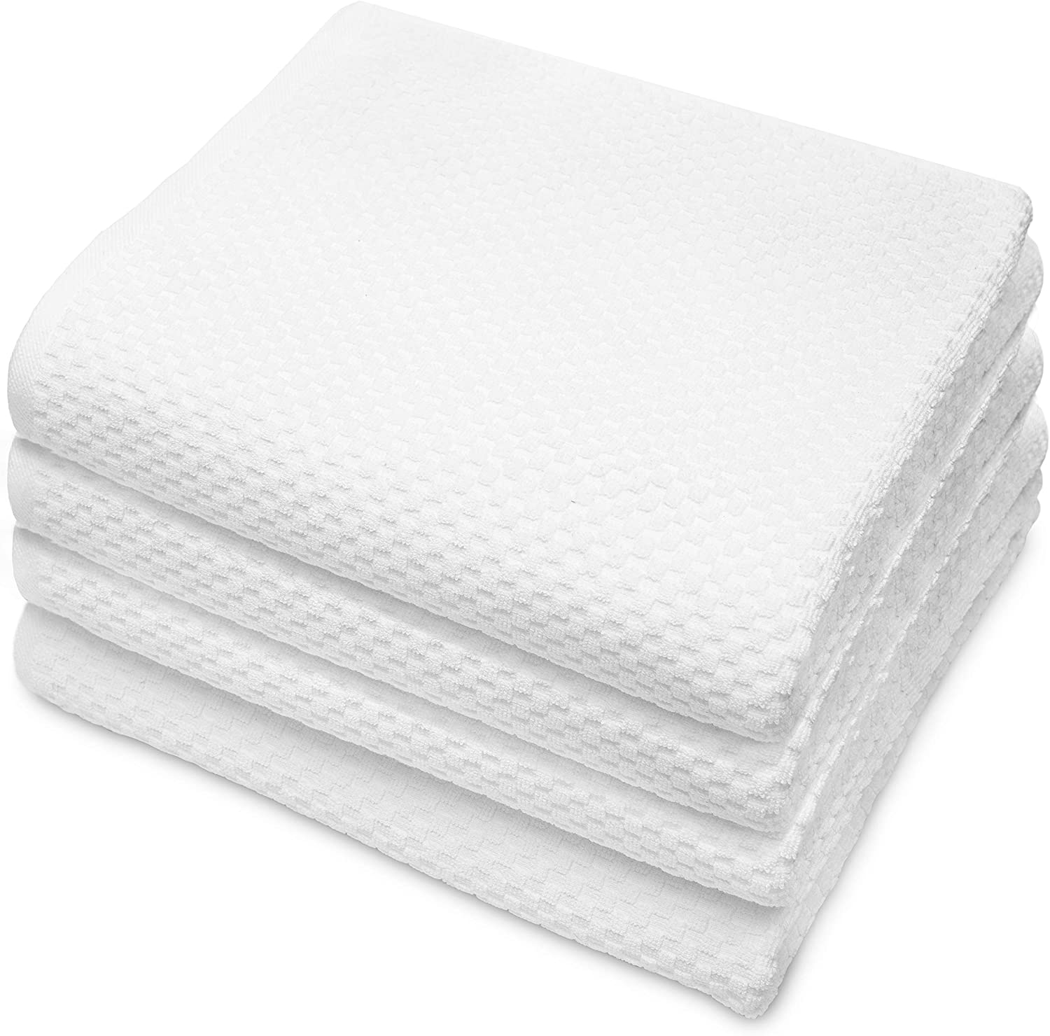 COTTON CRAFT - 4 Pack Euro Spa Waffle Weave Oversized Bath Towels 30x56 - White - 100% Pure Ringspun Combed Cotton - True Luxury Inspired by The Finest European Spas and Resorts