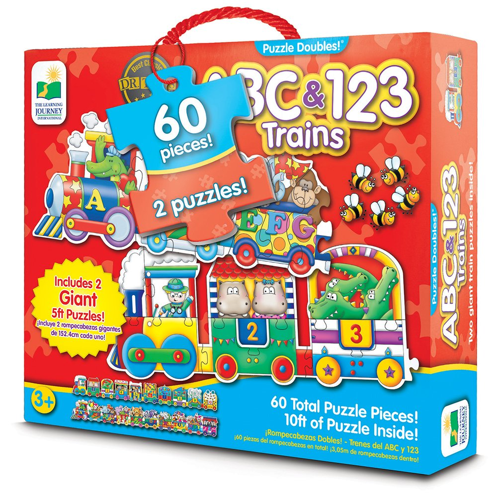 The Learning Journey Puzzle Doubles - Giant ABC & 123 Train Floor Puzzles - Two Puzzles in One