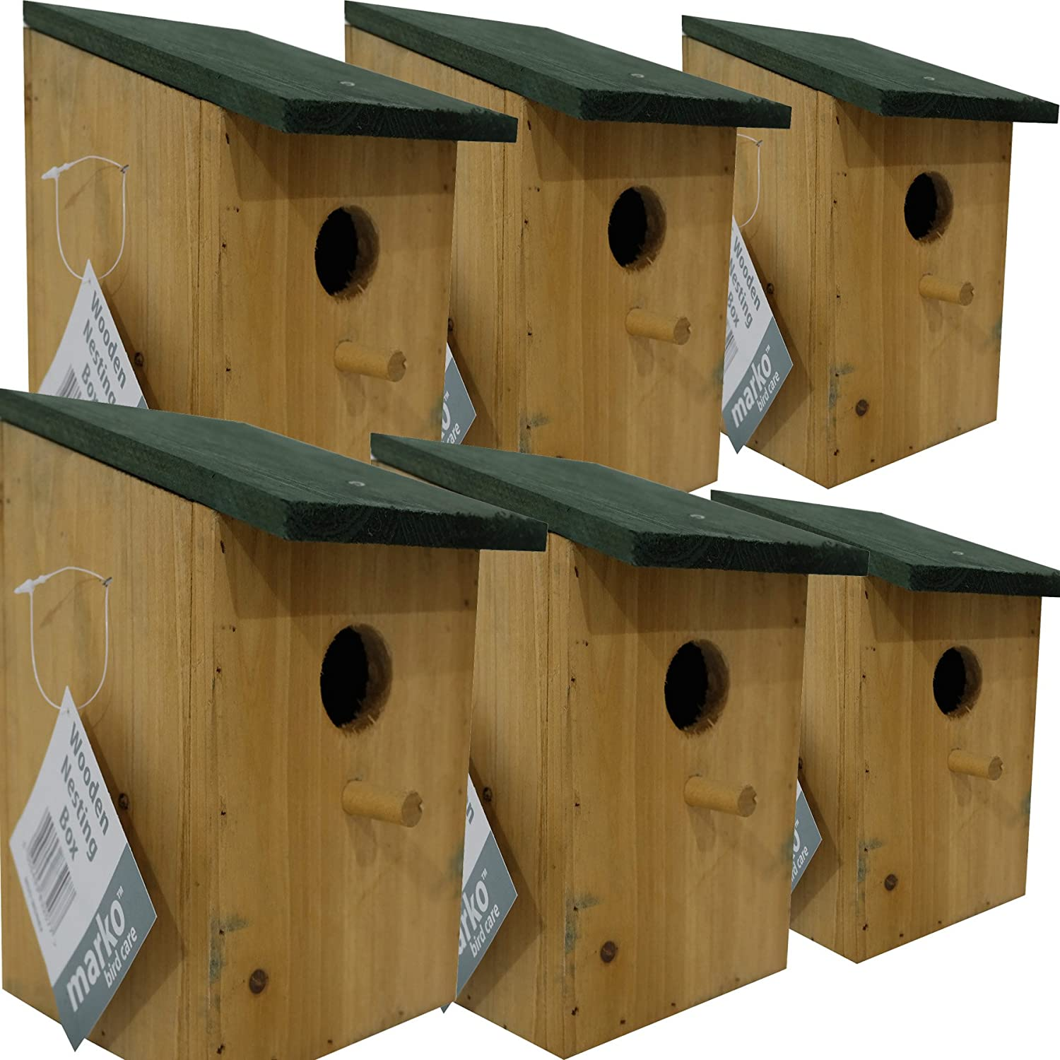 6 pc Traditional Wooden Nesting Boxes Bird Nest Wood House Small Birds Bluetit Marko Bird Care
