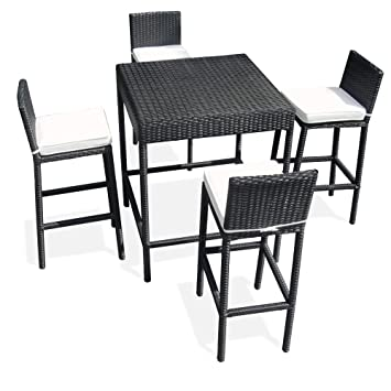JOM Bar de Jardin polyrattan, Table Haute, Table Bistro, Set de ...