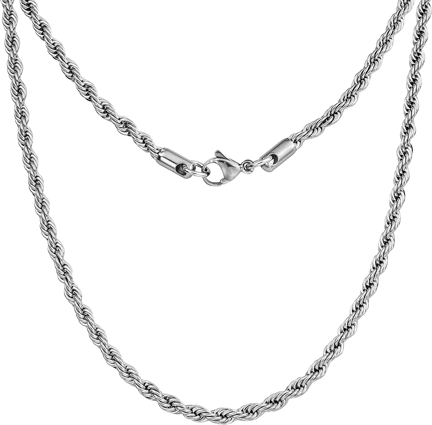 "Silvadore 4mm Rope Mens Necklace - Silver Chain Twist Stainless Steel Jewelry - Neck Link Chains for Men Man Male Women Boys Girls - 18"" 20"" 22"" 24"" 26"" 36"" UK"