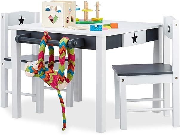 Relaxdays 10022744 Mobiliario Infantil Star, Mesa y sillas de Madera, Zona de Actividades, Unisex, Estrella, Blanco y Gris, DM, 48 x 68 x 60 cm: Amazon.es: Hogar