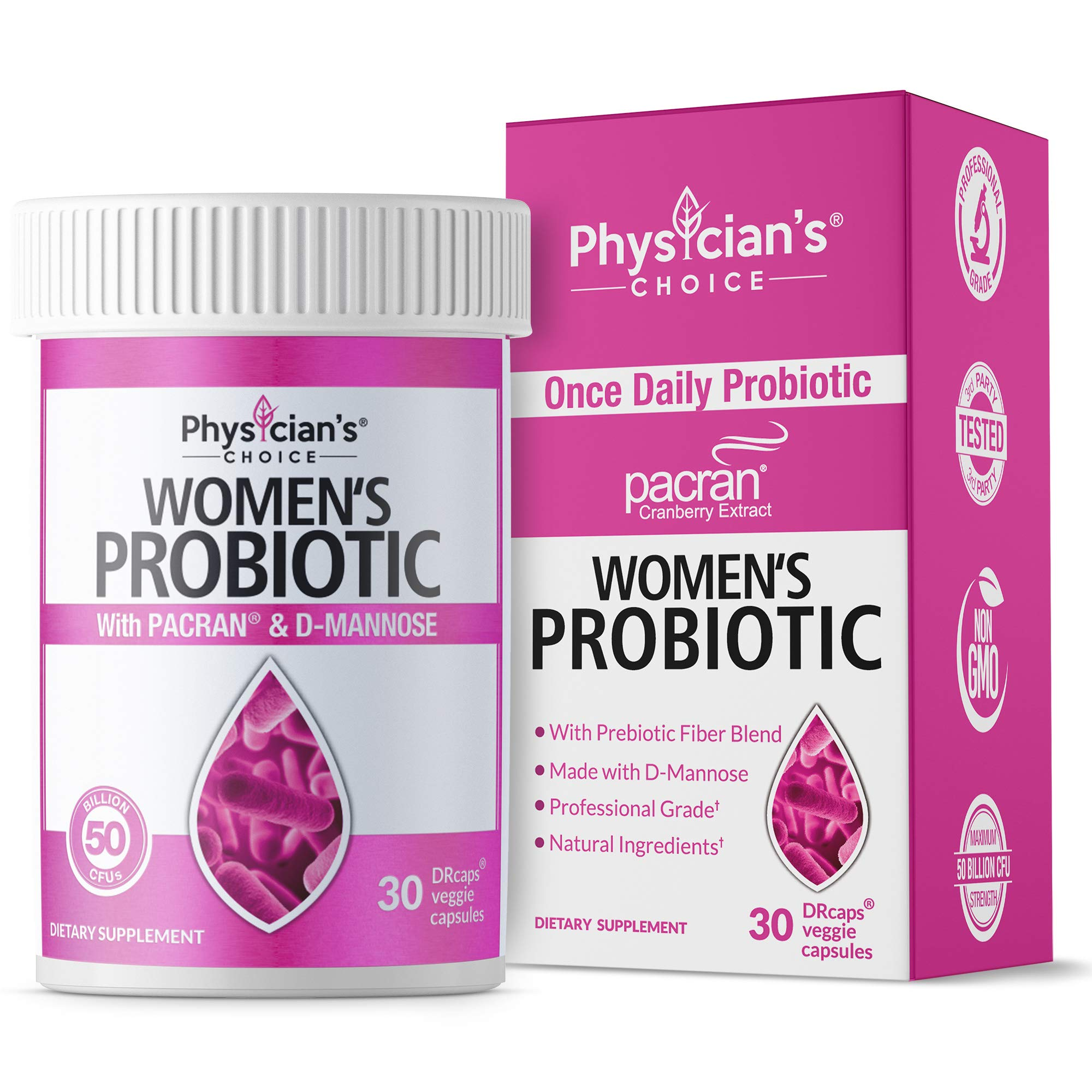 Probiotics for Women - Clinically Proven Pacran - Organic Prebiotics, 50 Billion CFU, D-Mannose & Wholefruit Cranberry for Digestive, Immune, Feminine Health, Soy & Dairy Free, 30 Vegan Capsules by Physician's CHOICE