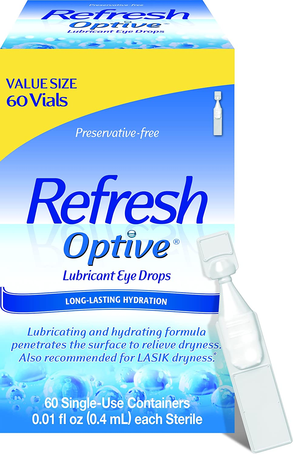 Refresh Optive Lubricant Eye Drops, 60 Single-Use Containers, 0.01 fl oz (0.4mL) each Sterile