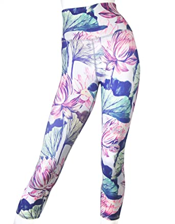 23a9c8befe EVCR Watercolor Floral HIGH-Waisted Capri Soft Non See-Through Everyday Yoga  Leggings (XS) at Amazon Women's Clothing store: