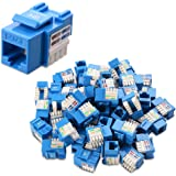Cable Matters 50-Pack Cat6 RJ45 Keystone Jack in Blue and Keystone Punch-Down Stand