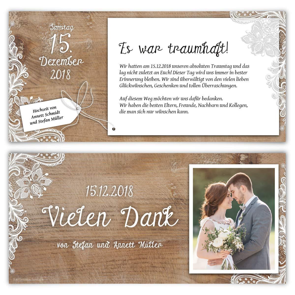 30 x Hochzeit Dankeskarten Danksagungskarten individuell mit Ihrem Text und Foto DIN Lang 99 x 210 mm Rustikal mit wei/ßer Spitze