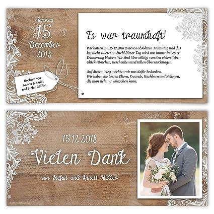 40 X Hochzeit Dankeskarten Danksagungskarten Individuell Mit Ihrem Text Und Foto Din Lang 99 X 210 Mm Rustikal Mit Weißer Spitze