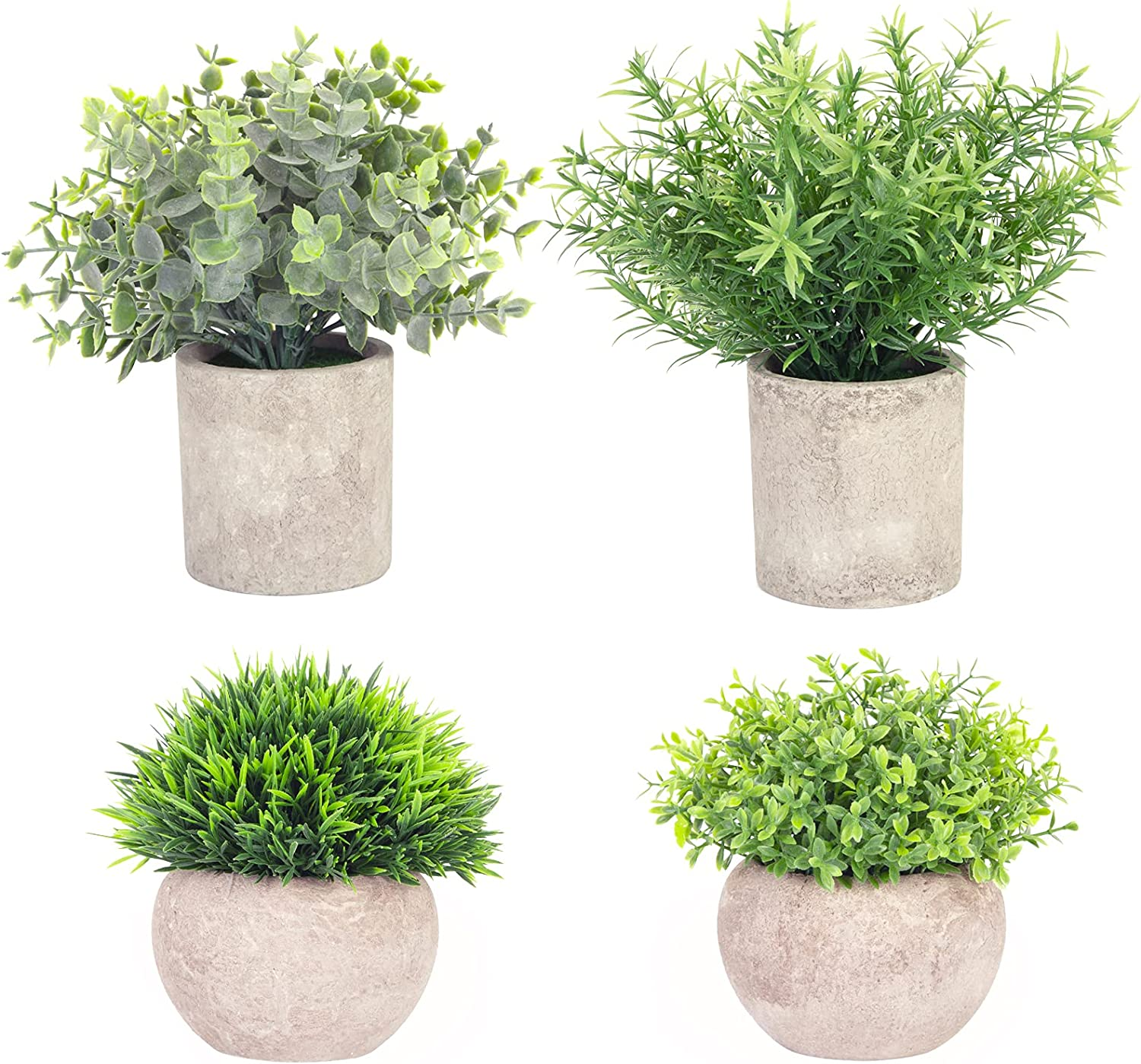 Helsens 4 Pack Artificial Mini Potted Plants Fake Small Greenery Eucalyptus Plants in Pots for Home Office Desk Table Indoor Decor