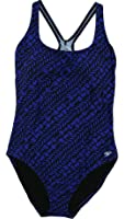 Speedo Ladies 1-Piece Scoop Neck Racer Back Fashion Swimsuit Multi-Blue Abstract