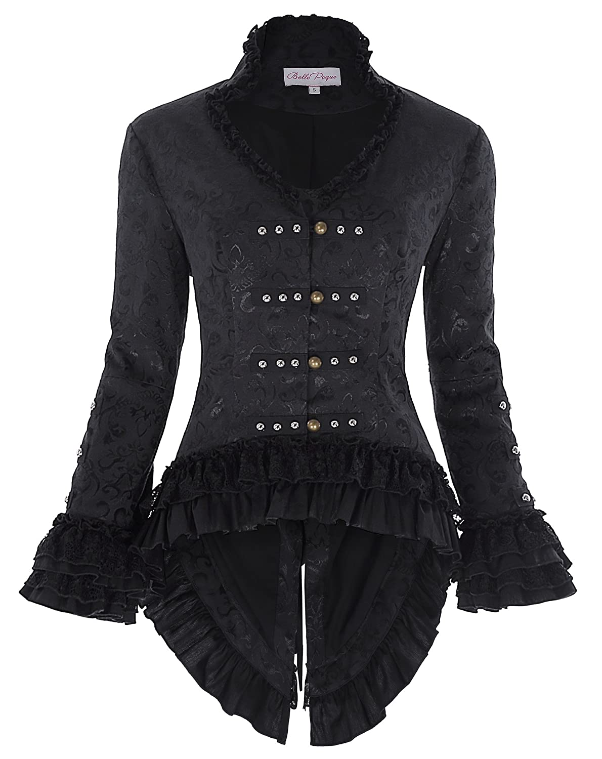 Women's Fancy Black Pirate Captain Gothic Tails Back Lacing Coat - DeluxeAdultCostumes.com