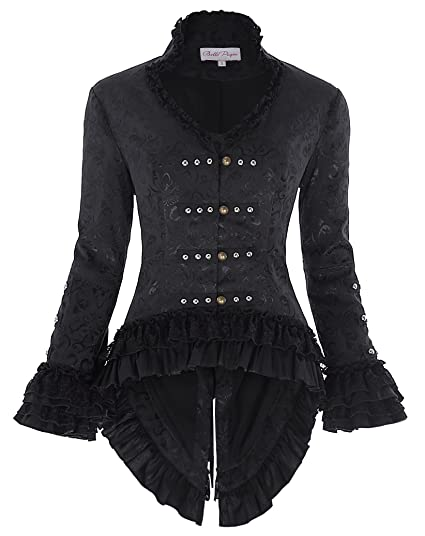 Steampunk Jacket | Steampunk Coat, Overcoat, Cape Belle Poque Womens Gothic Steampunk Floral Jacket Coat with Lace Embellishments BP223 $45.79 AT vintagedancer.com