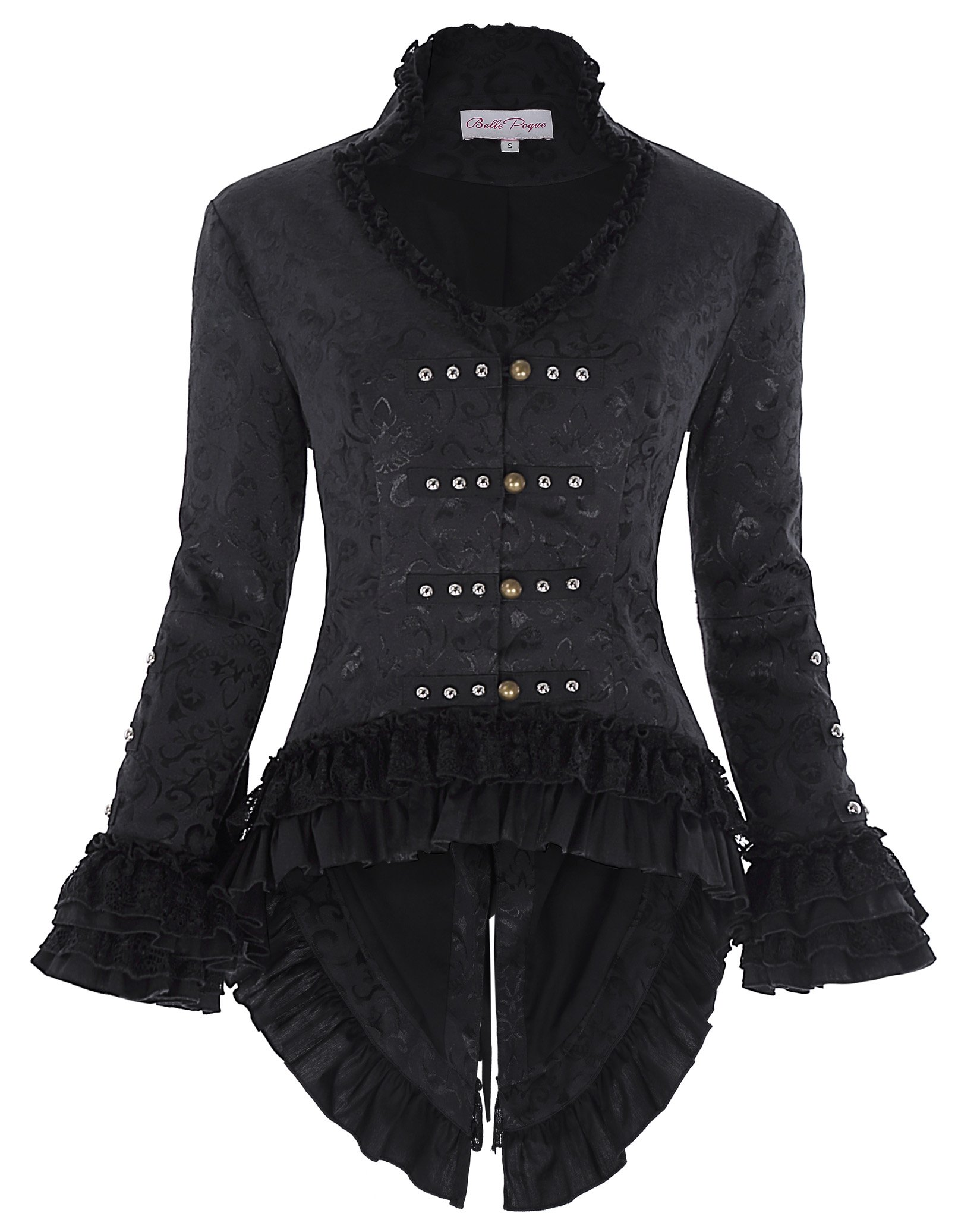 Womens Casual Victorian Steampunk Tail Jacket with Back Lacing BP223-1 Black Size XS