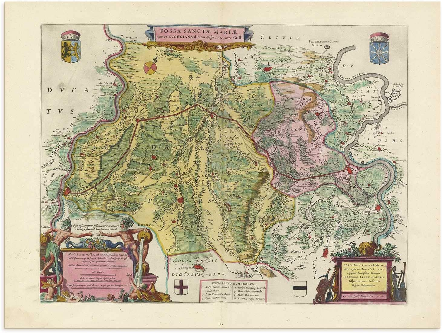 The Blaeu Prints   Wesel, Nordrhein-Westfalen - Historical Map Print from Antique Atlas by Joan Blaeu - Old Map Shows: Duisburg, Krefeld, Moers