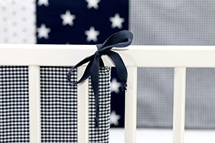 210x30 cm Baby Bettnestchen, Bettumrandung f/ür 140x70 cm Babybett - Kopfbereich, Motiv: Punkte, Sterne ULLENBOOM /® Nestchen Blau Hellblau Grau