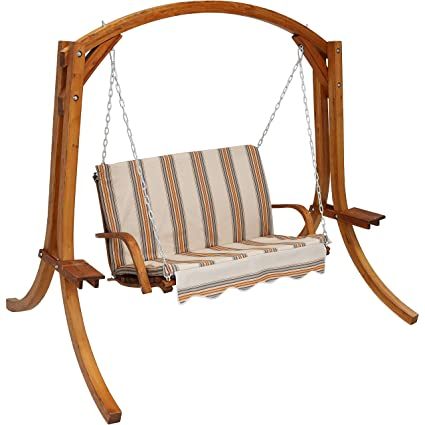 Sunnydaze Deluxe 2 Person Wooden Patio Swing With Orange Cream Cushions For Patio Deck Or Yard