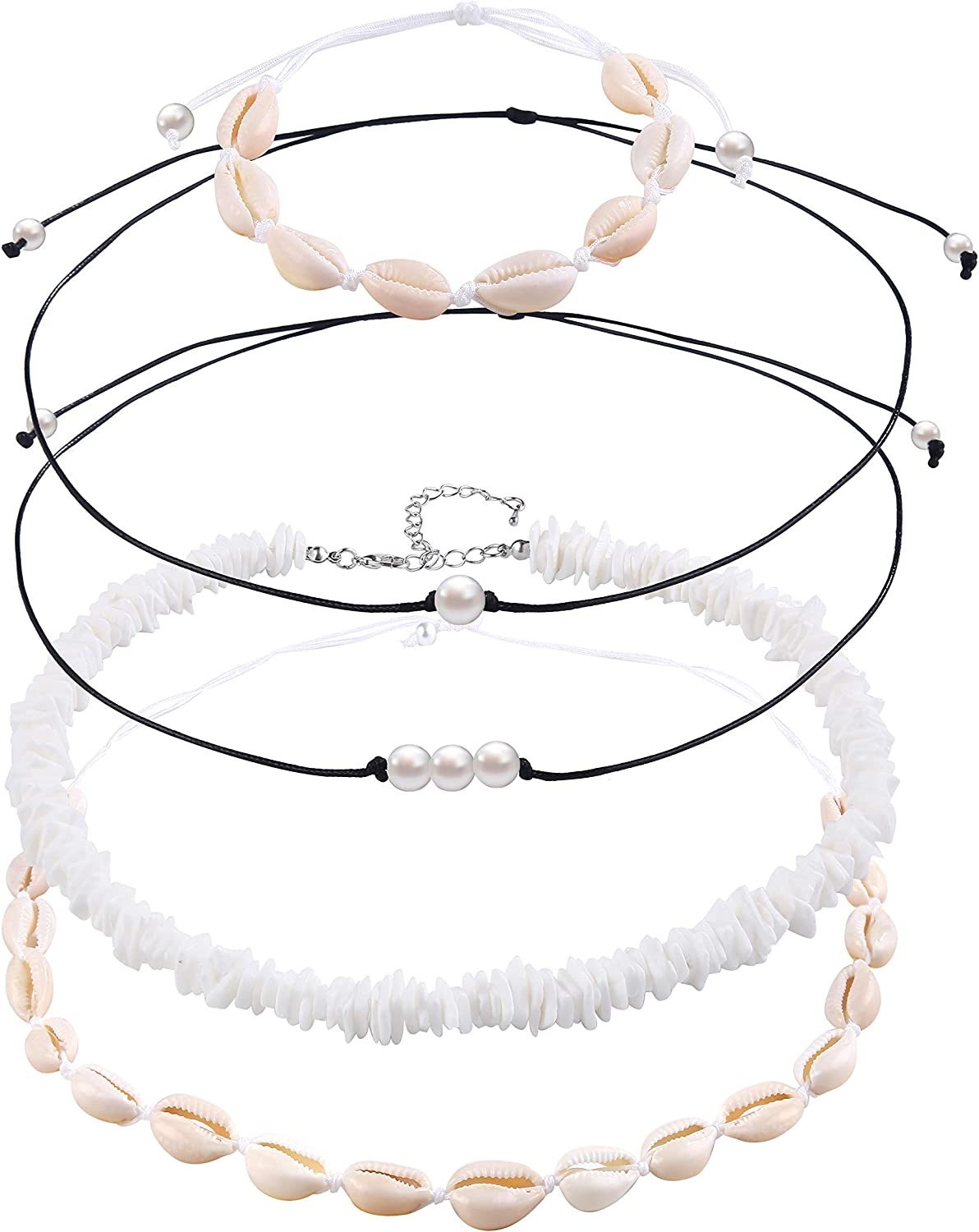 VANGAY Pearl Shell Necklace Choker for Women Girls Handmade Puka Seashell Necklace Jewelry Hawaiian Beach Necklace Bracelet Set