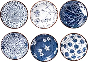 Japanese Style Ceramic Dipping Bowls,4 Inch Side Dishes Sauce Dishes for Sushi,Snack and Soy,2.5 Oz Blue and White Pinch Bowls for Kitchen Prep - Set of 6(4 inch)