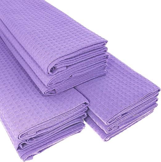 9 x paños de algodón 100% Suela de piqué en lila/Cocina toalla ...