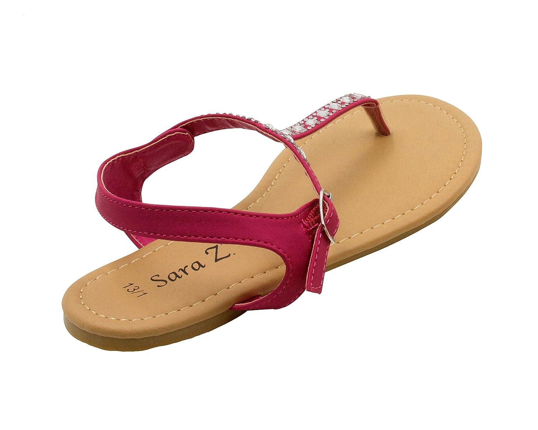 Sara Z Girls Vegan Thong Sandal with Rhinestone Detail 05SA11050