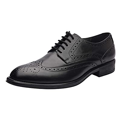 Allonsi Aaron Men's Formal Genuine Leather Wingtip Oxford Dress Shoes, Quality Low Heels, Lace-up Men's Shoes, Comfortable & Breathable Men's Oxford with Rubber Sole | Oxfords