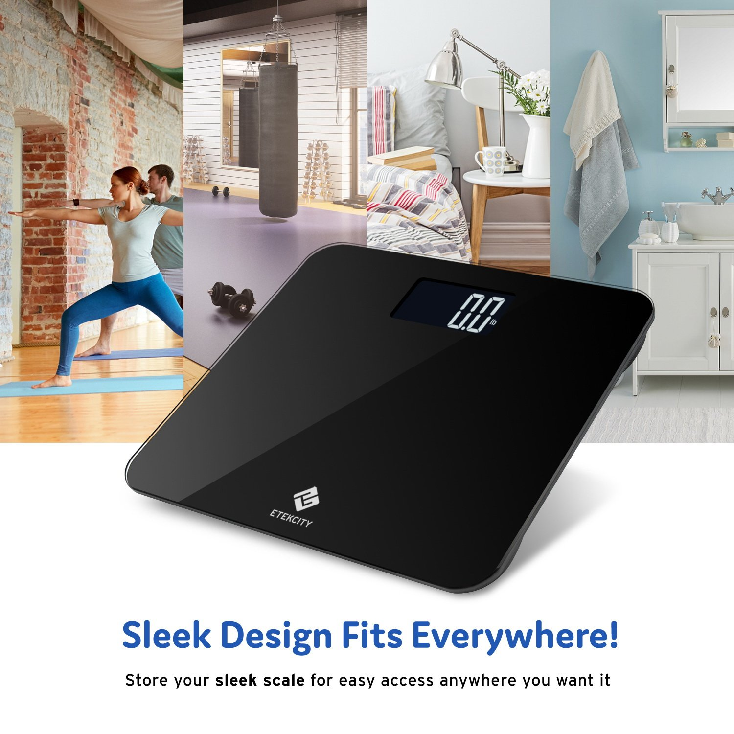 Etekcity Digital Body Weight Bathroom Scale with Step-On Technology, 440 Pounds, Body Tape Measure Included (Black) EB441OB by Etekcity (Image #7)