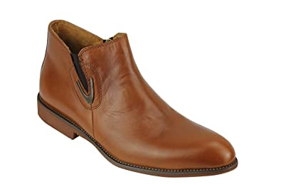 e7853434792c Xposed Mens Style Slip On Smart Casual Real Leather Chelsea Side Zipped Ankle  Boots  Tan