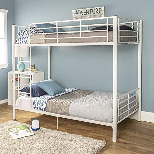 Walker Edison Modern Metal Pipe Twin Bunk Kids Bed Bedroom Storage Guard Rail Ladder, White