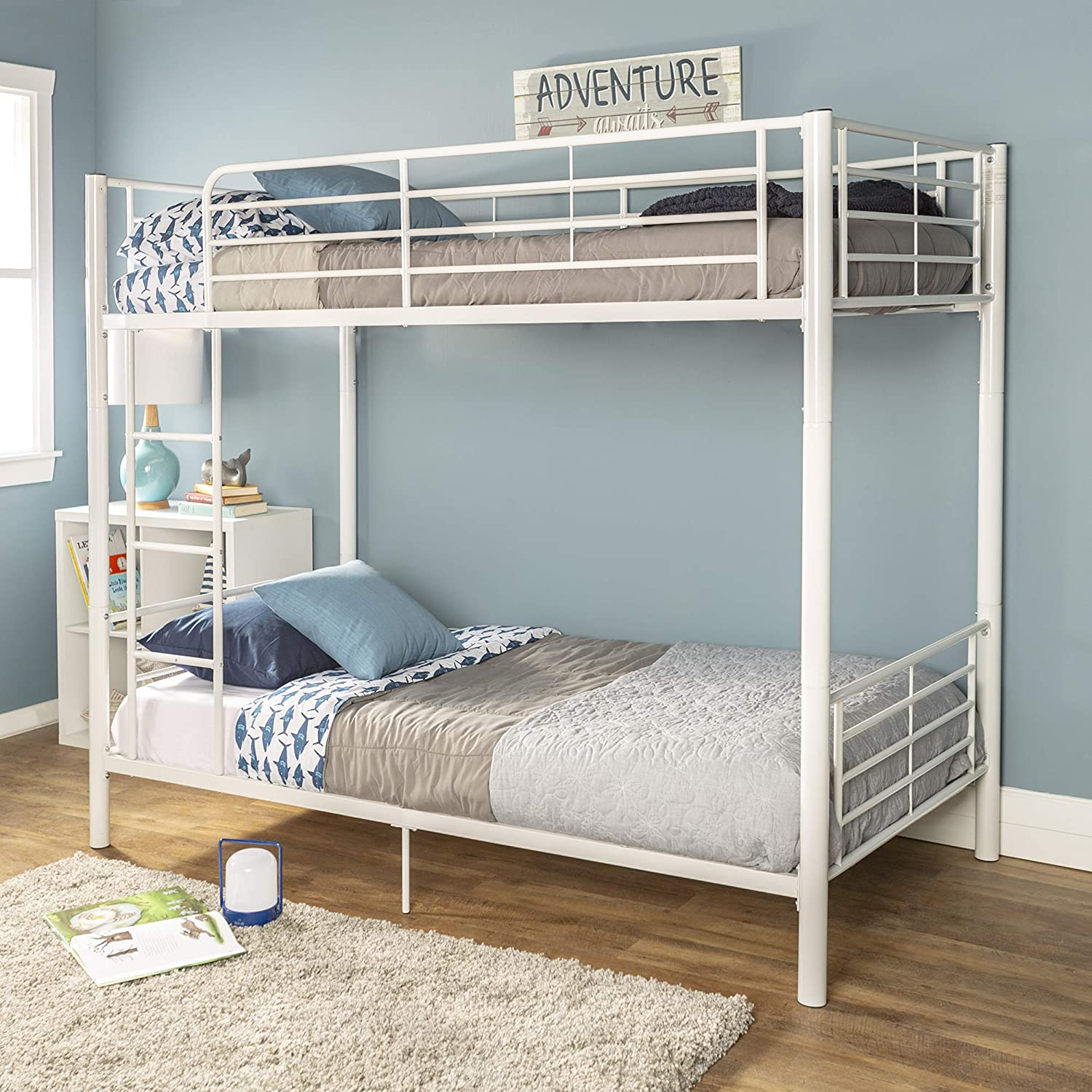 WE Furniture Modern Metal Pipe Twin Bunk Kids Bed Bedroom, Twin Over Twin, White