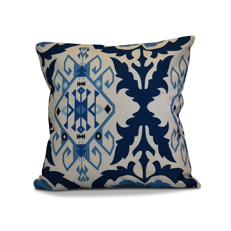 E by design 16 x 16-inch, Bombay 6, Geometric Print Pillow, Navy Blue