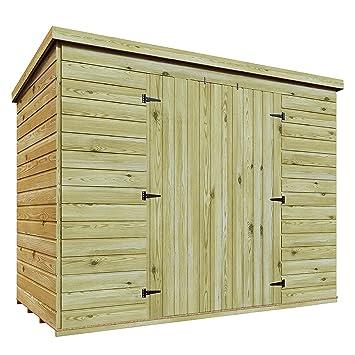 8 x 3 madera tratada a presión doble puerta central caseta de jardín cobertizo (Lean