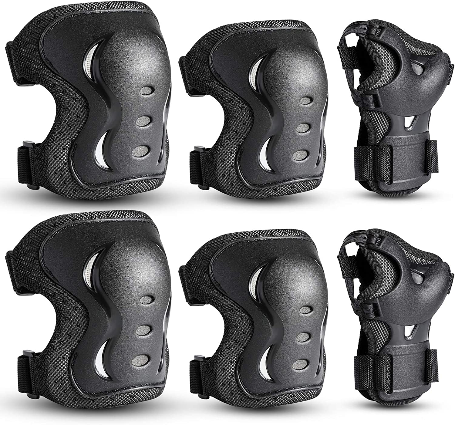 OMID Knee Pads and Elbow Pads with Wrist Guards Protective Gear Set for Adult /& Child Biking Snowboarding Riding Sports Protective Gear Safeguard Support Pad for Multi Sports Skateboarding