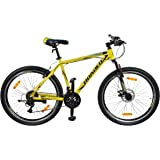 ROADEO A 50 Youth Dual Disc 21 Speed Hardtail Mountain Bicycle with Lock, 26 inches (Yellow)