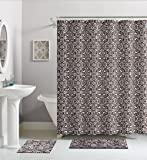Chocolate Brown White Damask Cotton Fabric Shower Curtain