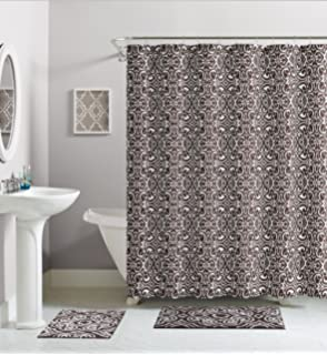 brown and white shower curtain. Chocolate Brown White Damask Cotton Fabric Shower Curtain Amazon com  Echelon Home Chevron Feather Grey