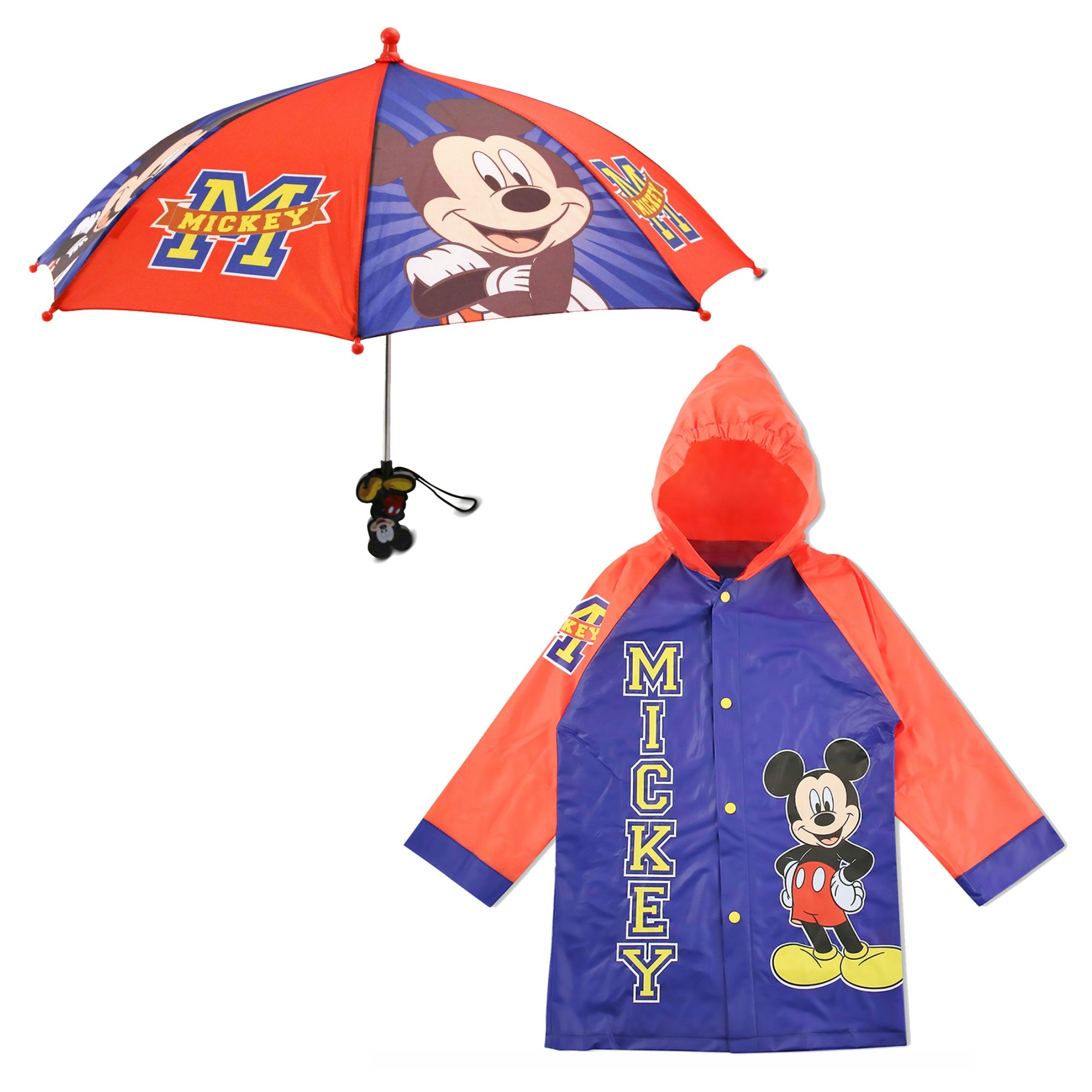 Disney Little Boy's Mickey Mouse Slicker and Umbrella Rainwear Set Blue/Red Age 2-3