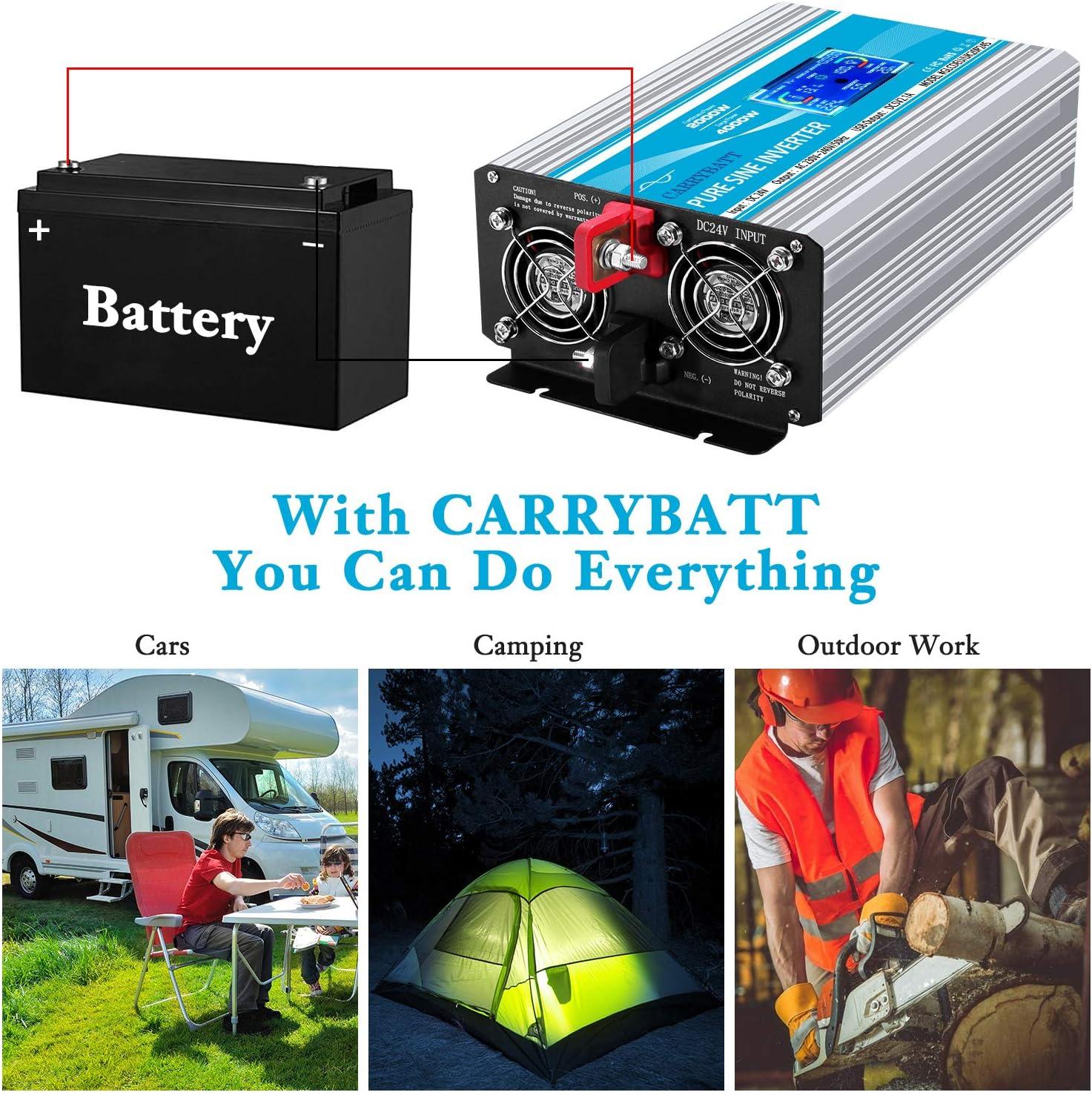 CARRYBATT Convertisseur 2000W Onde Pur Sinus Onduleur DC 24V /à AC 220V 230V transformateur de Tension avec t/él/écommande /& AC Prises de Courant /& 2.1A Port USB-Puissance de Pointe 4000W avec LCD