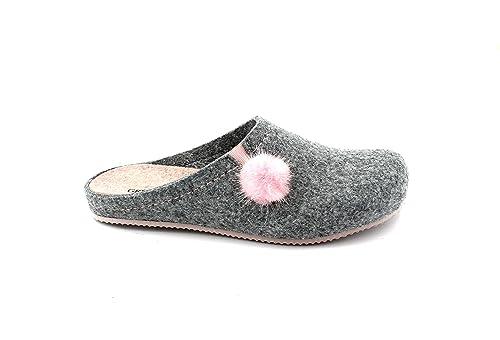 Zapatillas GRUNLAND Euro CB1668 Gris Ceniza Color Rosa Zapatillas Mujer Fieltro pompón 42: Amazon.es: Zapatos y complementos