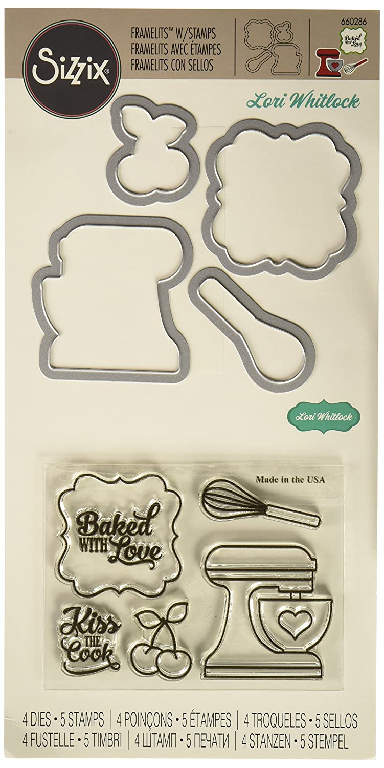 Sizzix 660286 Framelits Die Set with Stamps Baked with Love by Lori Whitlock (4 Pack) Ellison