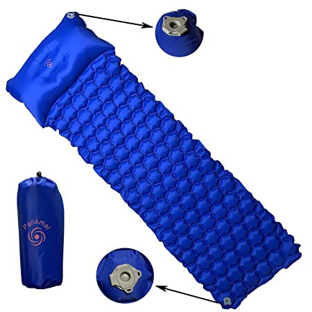 Pankmal Ultra Light Sleeping Pad, Mat with Pillow for Travel- Waterproof, Compact, Inflatable for Comfortable Camping, Backpacking, Scouts Hiking Gear for use with Cars, hammocks, Tent Bag