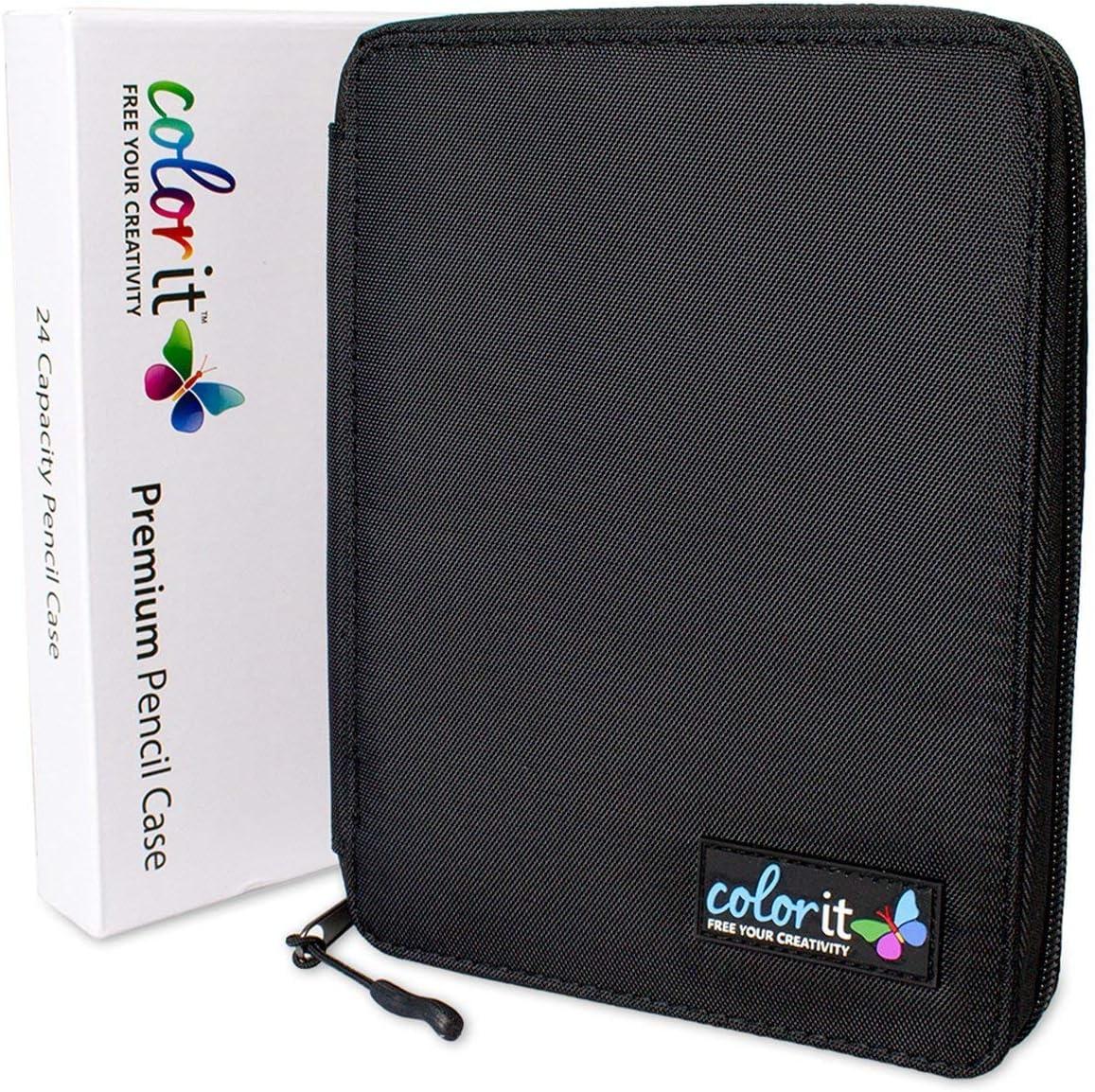 ColorIt Premium Zippered Travel Pencil Case for Colored Pencils 48 Slot Pencil Holder