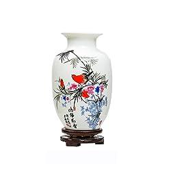 Chinois Oiseaux et Fleurs en Céramique Vase, Jingdezhen Petit Vase en Céramique,Vase Art Déco pour Ménage, Bureau, Mariage, Fête,Blanc