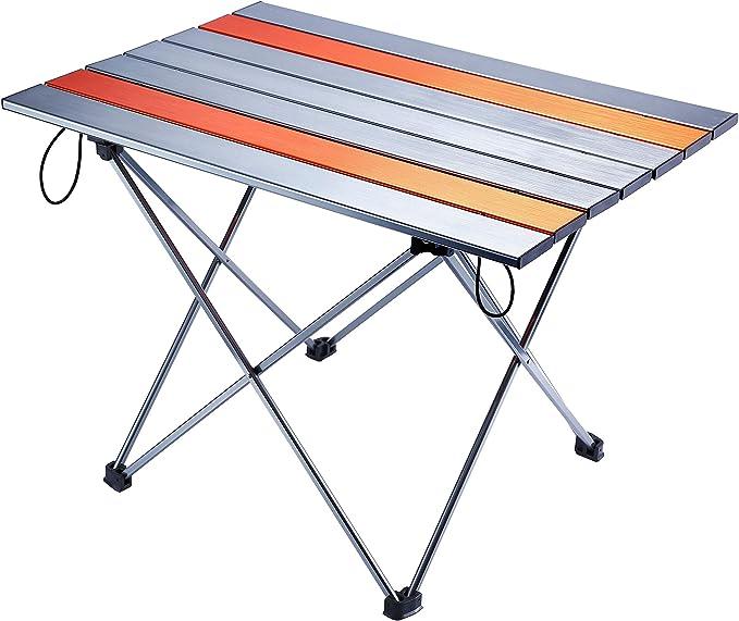 Movaty Mesa Plegable para Acampar Mesa para Exteriores Portátil Escritorio de Aluminio Liviano con Bolsa de Transporte para Picnic, Barbacoa, Pesca, Excursiones y Viajes, Fácil de Limpiar