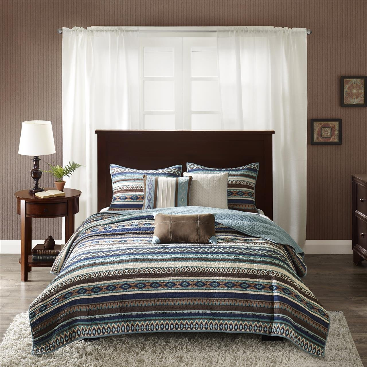 Madison Park Malone Full/Queen Size Quilt Bedding Set - Blue, Brown, Southwestern Pattern, Fair Isle – 6 Piece Bedding Quilt Coverlets – Micro Herringbone Fabric Bed Quilts Quilted Coverlet