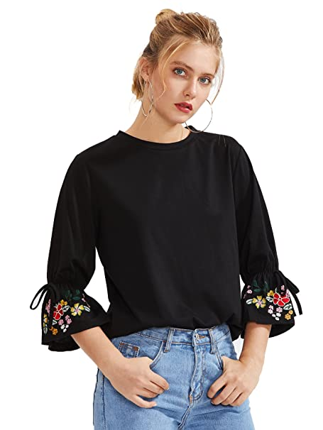 af5edc6566194a Floerns Women s Embroidered Bell Sleeve Summer T Shirt Black-1 L at Amazon  Women s Clothing store