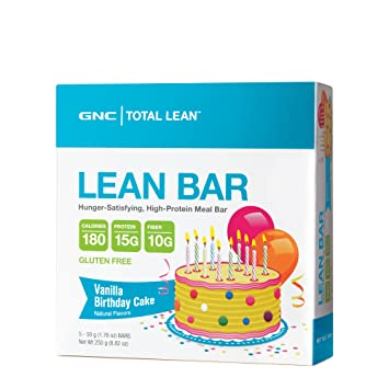 GNC Total Lean Bar Hunger Satisfying High In Protein Vanilla Birthday Cake
